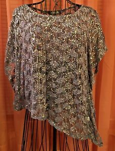 DENIM BLUE COLOR -LIGHTWEIGHT LACE AND SEQUIN TOP TOPPER OVERSHIRT -SIZE L -NWOT