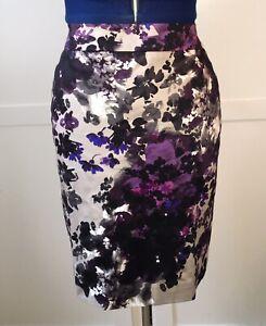 New Ann Taylor Petite (Size 8) Straight Skirt, purple floral pattern
