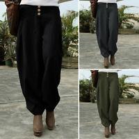 ZANZEA Femme 100% coton Taille elastique Poches Boutons Casuel Pantalon Plus