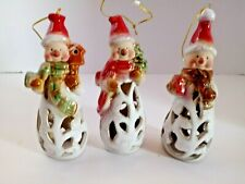 Set of 3 Glazed Ceramic Snowman bell Ornaments Red white brown Christmas