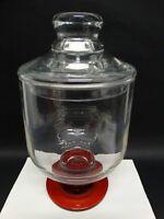 CÁRTER DE ACEITE PONCHE vidrio transparente base rojo diseño vintage H 34 cm