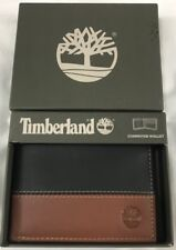 GENUINE TIMBERLAND BLACK/ BROWN LEATHER BIFOLD WALLET BRAND NEW IN GIFT BOX