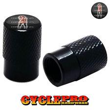 2 Black Billet Knurled Tire Valve Cap Motorcycle - TATTOO GIRL - 033