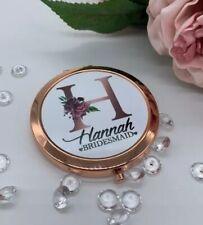 Personalised Rose Gold Compact Pocket Mirror Bridesmaid Maid of honour wedding