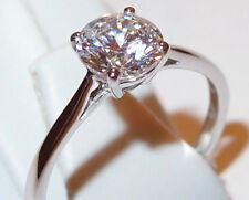 Classic Cubic Zirconia Solitaire (round, 1.280ct) ring in 9K White Gold, Size Q.