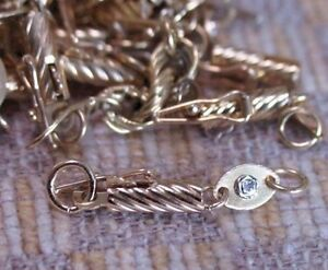 NEW 14K YELLOW GOLD BARREL CLASP WITH DIAMOND TAG & JUMP RINGS