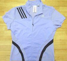 Women's Adidas Clima-Lite Short Sleeve Half Zip Shirt Purple  Size Small