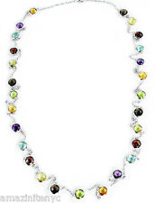 14K White Gold Fancy Cut Gemstones Necklace With 6MM Round gemstones 30 Inches