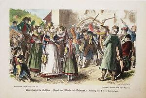 Wedding Westphalia Bauernhochzeit Costume Münster Decorative Wood Engraving 1870