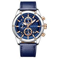 Mens Quartz Watch Blue Leather Belt Three Dials Date Luminous Business Casual