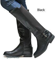 New Women JMn46 Brown Black Tan Stretchy Riding Knee High Biker Boots 6 to 10
