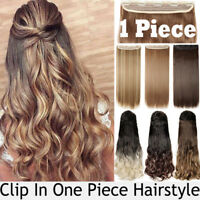 Real Thick Natural Clip in 3/4 Full Head Hair Extensions Extension as human soft