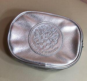 Vince Camuto Silver Metallic Cosmetic Makeup Case Travel Bag Clutch Zip Top