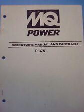 MQPower D 375 Compressor Operator's & Parts Manual