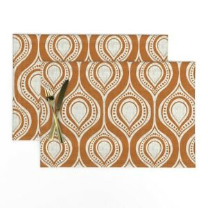 Cloth Placemats Modern Abstract Decor Mod Rust Oval Set of 2