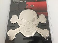 Bully Chrome Head Skull Cross/Bones Pirate Trim/Moulding 3-D Emblem/Adhesive