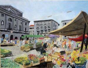 Sami Axelrad: Market Scene in Paris / Israeli Jewish Romanian Realism