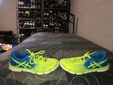 Asics 33-DFA Womens Running Training Shoes Size 7 Blue Neon Green T582N