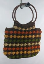 Vintage Womens Wooden Handled Knitted Earthtone Purse