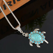 New Cute Women Boho Turquoise Rhinestone Turtle Pendant Necklace Chain