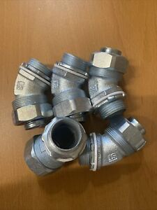 """Lot of 5 Appleton STB-4575 3/4"""" 45° Angle Fitting Liquidtight Conduit Connector"""