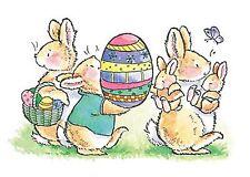 EASTER Joy Easter Bunny Egg Wood Mounted Rubber Stamp PENNY BLACK 1936K New