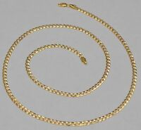 14k Solid Yellow Gold Cuban Curb Link Chain Necklace 22 Inches 6.3 Gr 3.3 mm