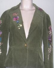 TRUE MEANING Green Cord Jacket w/ Embroidery Sz 4 Long Sleeves, 1 Button Closure