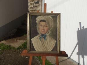 tableau ancien portrait de dame Madelaine Verlin