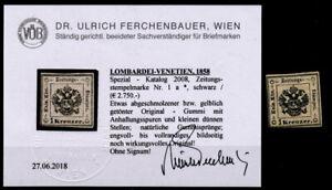 LOMBARDEI-VENETIEN 1858 1kr, schwarz, Zeitungsstempemarke, UNGEBR.*! VÖB