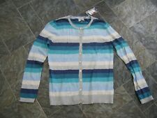 Heyton ~ Ladies Blue Stripped Cotton Cardigan ~ Size 14 ~ NWT