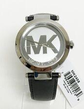 Michael Kors Womens Silver Tone Logo Dial Leather Strap Watch MK2458