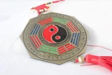 """5""""D 18""""L Brass Feng Shui Home Protection Yin Yang Tai Chi Bagua Mirror Charm"""