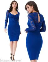 Goddess Blue Long Sleeve Scallop Lace Sweetheart Cocktail Party Evening Dress