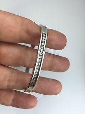 New 14K White / Yellow Gold Diamond Bracelet  Bangle 6 Inch