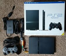 Sony PlayStation 2 PS2 Slim Console in Box With 7 Games & 2 Genius Racing Wheels
