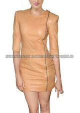 Spring Designer Lamb New Leather Women Dress Cocktail Stylish Party Wear  D-066