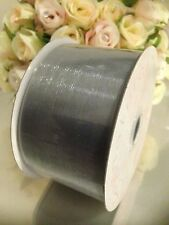 EXTRA LONG HIGH QUALITY ORGANZA WIDE SILVER SHEER RIBBON 50mm x 50 METRES