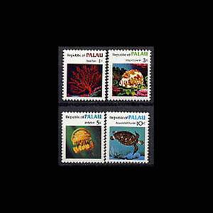 PALAU, Sc #9-12, MNH, 1983, Marine life, turtle, sea fan, jellyfish, AR5FDD-9
