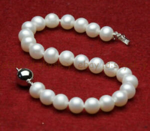 Natural Pearl 7/8/9/10mm Real White South Sea Cultured Pearl Bracelets 7.5'' AA