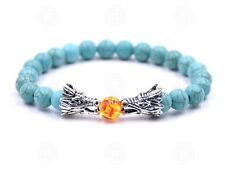 Turquoise Dragon Fire Ball Stone Bead Bracelet Meditation Chinese Mens Yoga UK