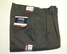 IZOD Mens AMERICAN CHINO Pants Classic Double Pleat (Sz 32 x 30) Brown NWT $50