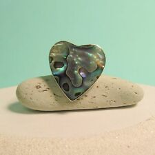 Abalone Shell Heart Shape 925 Pure Sterling Silver ADJUSTABLE Handmade Ring