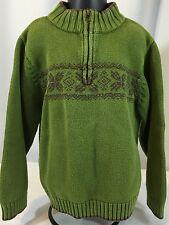 Gymboree Boys 6 Arctic Adventure Green Gray Nordic Zip Neck Pullover Sweater