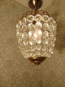 antik Kronleuchter Lüster Plafoniere Messing Gold  Kristall Frankreich ca.1930