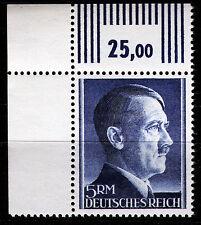 DR 802 B **, 5 RM Hitler Kammzähnung, Eckrand links oben