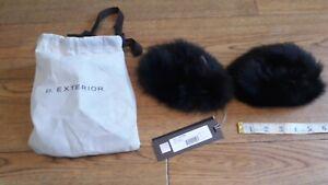 D.Exterior real Fox fur cuffs.RRP £115.Black.Transform your jacket.Real fur