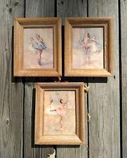 Vintage Mid Century Pal Fried Ballerina Lithograph Prints Set Of 3 Framed Matted