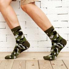 Men Camo Socks Fashion Patterned Crew Socks Comfort Cotton Socks (Army green)