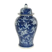 "Blue & White Large Porcelain Butterfly Motif Temple Jar Ginger Jar 24"" Tall"